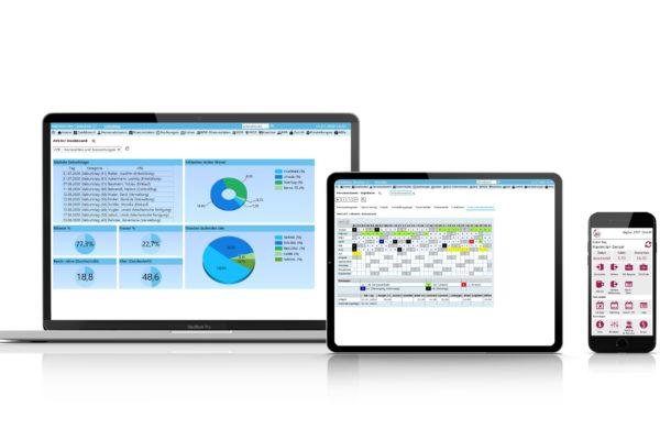 Beispiele der Software auf Laptop, Tablet und Smartphone