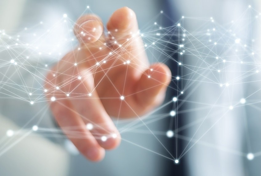 Schnittstellen Netzwerk mit Hand
