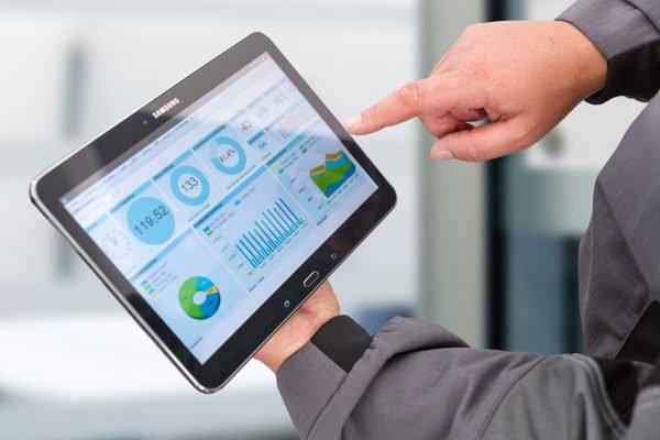 Dashboard der Betriebsdatenerfassung am Tablet