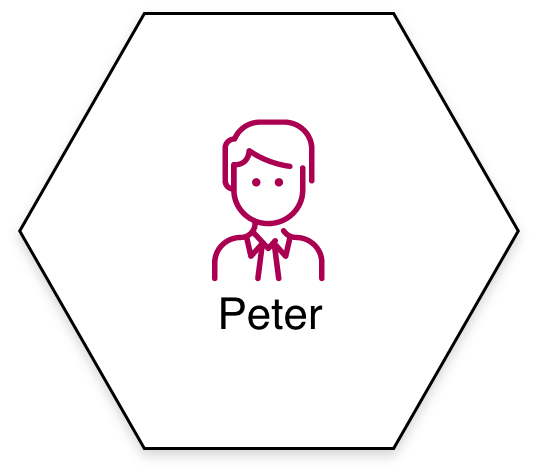 Wabe mit Person namens Peter
