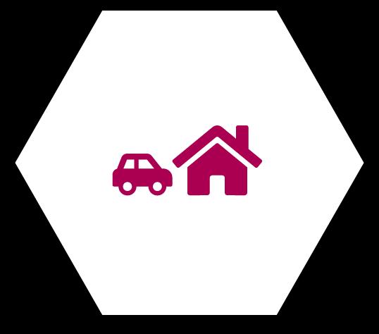Wabe mit Auto und Haus