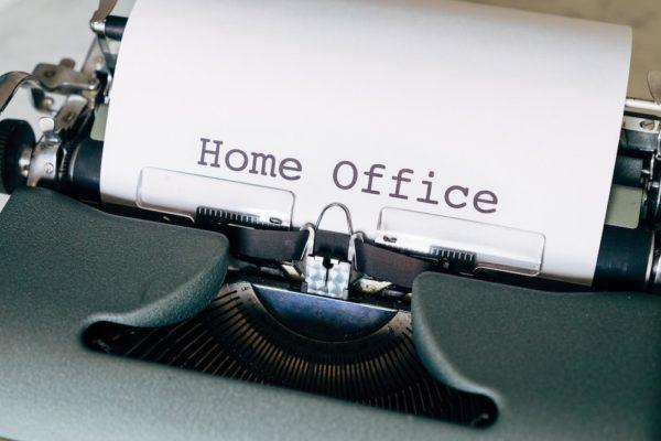 Home Office Text in Schreibmaschine