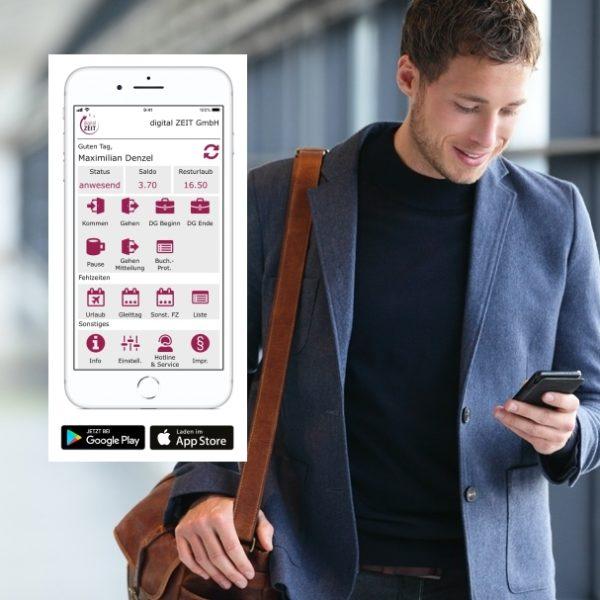 Übersicht der digitalen Zeiterfassung App mobil auf dem Smartphone und Tablet