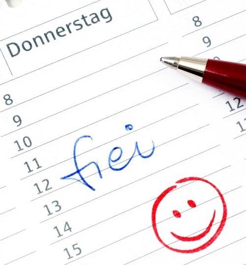 Eintrag freier Tag im Kalender Gleittag