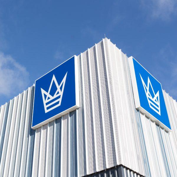 Wäschekrone Logo am Gebäude